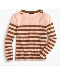 J.Crew | Petite Tippi Striped Sweater With Shoulder Buttons | Lyst