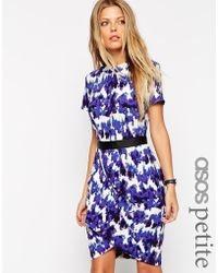 Asos Tulip Dress In Crepe With Blurred Animal Print - Lyst