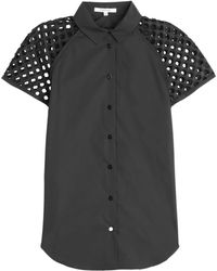 Carven Cotton Blouse With Cut-Out Detail - Lyst