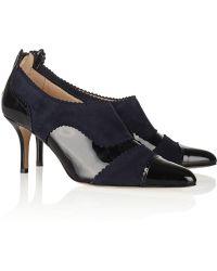 Oscar de la Renta Lulu Suede And Patent-Leather Ankle Boots - Lyst