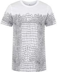 Kris Van Assche - Monochrome Crocodile Effect Cotton Tshirt - Lyst