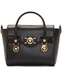 Versace Black Leather Gold Medallion Shoulder Bag - Lyst