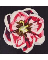 Christopher Kane Black Screen Print Tulip Silk Scarf - Lyst