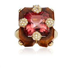 Nicholas Varney - Carved Tigers Eye Pink Tourmaline and Diamond Square Duo Ring - Lyst