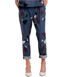 Nikki Chasin - Printed Silk & Cotton Trousers - Lyst