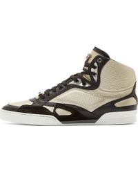 Versace Silver Leather High_top Sneakers - Lyst