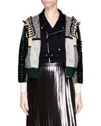 Toga Archives Faux Leather Ribbon Jacquard Cardigan Combo Biker Jacket - Lyst