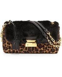 Prada Calf Hair & Mink Fur Shoulder Bag - Lyst