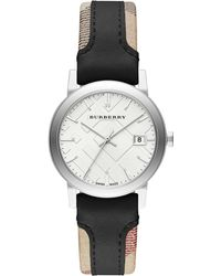 Burberry Women'S Swiss The City Haymarket Check And Black Leather Strap Watch 34Mm Bu9150 - Lyst