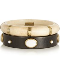 Isabel Marant Set Of Two Wood, Bone And Gold-Plated Bangles - Lyst