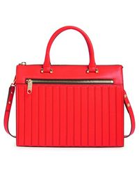 Milly Women'S 'Ludlow' Leather Satchel - Red - Lyst