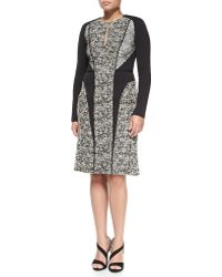 J. Mendel Longsleeve Tweed Dress with Lace - Lyst