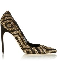 Brian Atwood Studded Suede and Metallic Leather Pumps - Lyst