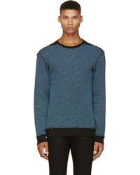 Diesel Blue and Black Waffle Cotton Sebastien Sweatshirt - Lyst