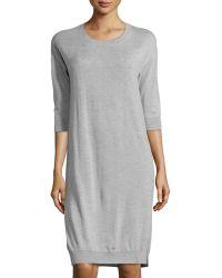 ATM Gray 3/4-Sleeve Sweaterdress - Lyst