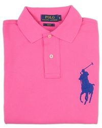 Ralph Lauren Blue Label Pink Polo Shirt With Big Logo - Lyst