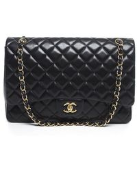 Chanel Pre-owned Black Lambskin Maxi Single Flap Bag - Lyst