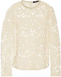 Isabel Marant Terry Suede-Trimmed Crocheted Top - Lyst