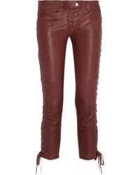 Isabel Marant Zephir Laceup Skinny Stretchleather Pants - Lyst