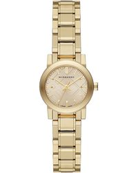 Burberry Ladies Petite Gold-Tone Watch With Hydraulic Stamp Dial - Lyst