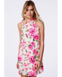 Missguided Rosieta High Neck Rose Print Mini Dress - Lyst