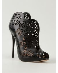 Alexander McQueen Flower Cut Out Booties - Lyst
