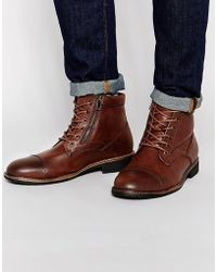 Pull&Bear - Faux Leather Worker Boots In Dark Brown - Lyst