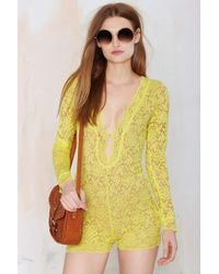 Nasty Gal Gimme Shelter Lace Romper - Lyst