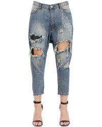 One Teaspoon Destroyed Cotton Denim Jeans - Lyst