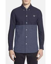 Fred Perry Extra Trim Fit Colorblock Oxford Sport Shirt - Lyst
