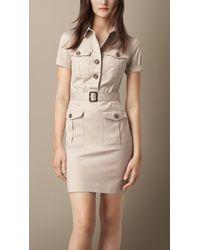 Burberry Stretch Cotton Utility Dress - Lyst