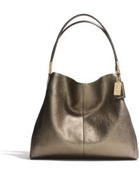 COACH - Madison Small Phoebe Shoulder Bag in Metallic Leather - Lyst