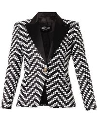 Balmain Bi-colour Bouclé Jacket - Lyst