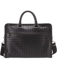 Bottega Veneta Soft Woven Leather Computer Bag - Lyst