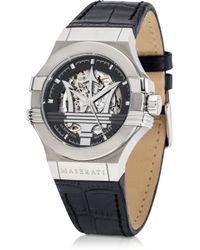 Maserati Potenza Auto Black Dial And Leather Strap Silver Tone Men'S Watch - Lyst