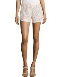 Laundry by Shelli Segal - Lace-panel Curved-hem Shorts - Lyst