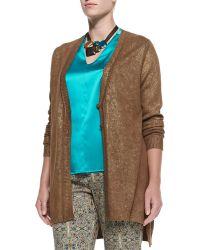 Marina Rinaldi Manarola Metallic Knit Cardigan - Lyst