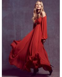 Free People Womens Ruby Red Sun Maxi - Lyst