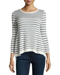 Philosophy Cashmere - Cashmere Three-Quarter-Sleeve Striped Sweater - Lyst