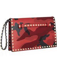 Valentino Camo Rockstud Clutch Bag - Lyst
