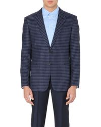 Armani Checked Cotton and Silk-blend Jacket - Lyst