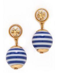 Tory Burch Saher Logo Drop Earrings - Blue Stripeshiny Brass - Lyst