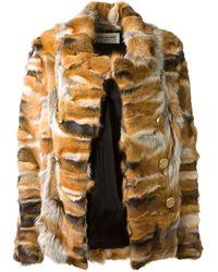 Saint Laurent Multicolor Fox Fur Jacket - Lyst