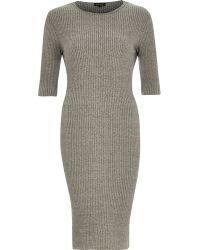 River Island Grey Ribbed Bodycon 3/4 Sleeve Dress - Lyst