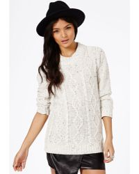 Missguided Ottilie Chunky Cable Knit Longline Jumper In Beige - Lyst