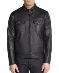 Kenneth Cole Reaction - Faux Leather Jacket - Lyst