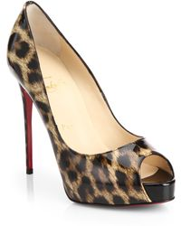 Christian Louboutin New Very Prive Leopard-Print Patent Leather Peep-Toe Pumps brown - Lyst