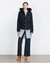 Zara | Blue Coat With Faux Fur Hood | Lyst