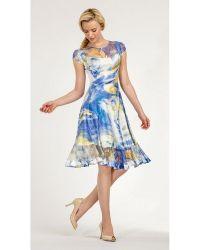 Komarov - Charmeuse Cap Sleeve Short Dress - Lyst