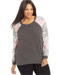 Soprano - Plus Size Floral-Print Colorblocked Sweatshirt - Lyst